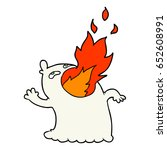 cartoon fire breathing ghost | Shutterstock .eps vector #652608991