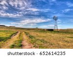 texas windmill on the panhandle ... | Shutterstock . vector #652614235
