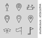 gps icons set. set of 9 gps...