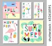 summer  bright memphis style... | Shutterstock .eps vector #652618591