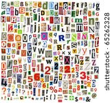 newspaper alphabet with letters ... | Shutterstock . vector #65262328