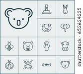animal icons set. collection of ... | Shutterstock .eps vector #652624225
