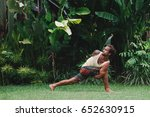 young man practice yoga in he... | Shutterstock . vector #652630915