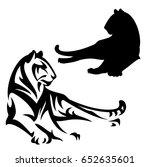 lying tiger black and white... | Shutterstock .eps vector #652635601