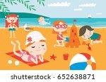 landscape with cute children... | Shutterstock .eps vector #652638871