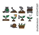 symbol planting icon set flat... | Shutterstock .eps vector #652645369