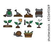 symbol planting icon set flat...   Shutterstock .eps vector #652645369