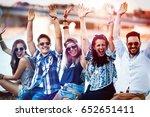 friends having fun outdoors and ... | Shutterstock . vector #652651411