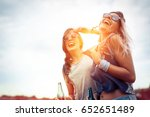 happy friends laughing and... | Shutterstock . vector #652651489