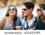 happy friends laughing and...   Shutterstock . vector #652651495