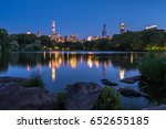 central park lake with view of... | Shutterstock . vector #652655185