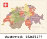 switzerland vintage map and... | Shutterstock .eps vector #652658179