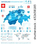 switzerland   map and flag  ... | Shutterstock .eps vector #652658185
