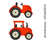 Cute Red Tractor Illustration...