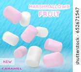 marshmallow white and pink on... | Shutterstock .eps vector #652671547