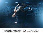 male rapper in dance studio ...   Shutterstock . vector #652678957