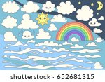 vector set of cartoon clouds on ... | Shutterstock .eps vector #652681315