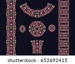 indian jewel. embroidery on... | Shutterstock .eps vector #652692415