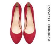 female red suede shoes ... | Shutterstock . vector #652693024