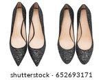 women  black shoes with glitter ... | Shutterstock . vector #652693171