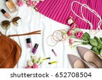 clothes with accessories and... | Shutterstock . vector #652708504