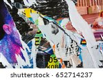 colorful torn posters on grunge ... | Shutterstock . vector #652714237