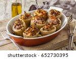 oven baked potatoes stuffed... | Shutterstock . vector #652730395