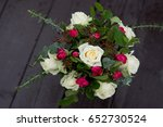 wedding bouquet with roses and... | Shutterstock . vector #652730524