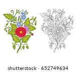 set of outline and colored... | Shutterstock .eps vector #652749634