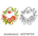 set of outline and colored... | Shutterstock .eps vector #652749724