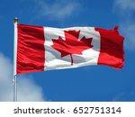 Waving Canadian Flag Against...