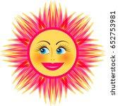 bright smiling sun on white... | Shutterstock .eps vector #652753981