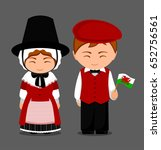 welsh in national dress with a... | Shutterstock .eps vector #652756561