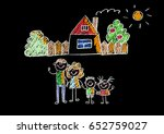kids drawing happy family... | Shutterstock . vector #652759027
