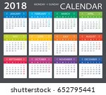 2018 calendar   illustration... | Shutterstock .eps vector #652795441