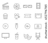 movies flat line icons set | Shutterstock .eps vector #652796785