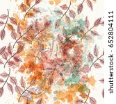 floral vector pattern with ink... | Shutterstock .eps vector #652804111