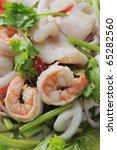 Seafood Thai Style salad in thai restaurant Bankok. - stock photo