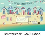 beach houses   neat row of tiny ... | Shutterstock .eps vector #652845565