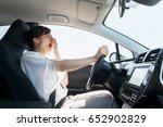 Yawning Female Driver. Falling...