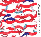 nautical seamless pattern with... | Shutterstock . vector #652902865