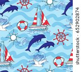 nautical seamless pattern with... | Shutterstock . vector #652902874