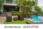 outdoor garden with swimming... | Shutterstock . vector #652915705