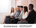 group of diverse people waiting ... | Shutterstock . vector #652926397