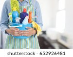 woman with cleaning equipment... | Shutterstock . vector #652926481