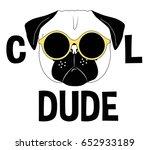 cool pug dog  illustration... | Shutterstock .eps vector #652933189