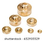 Small photo of Precision brass gramme mass set. Used to make measurements in a chemistry laboratory.