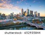 Melbourne City Skyline At...