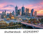 melbourne city skyline at... | Shutterstock . vector #652935997
