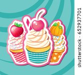 vector illustration of cupcakes ... | Shutterstock .eps vector #652937701